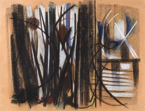 Hans Hartung, Pastel et encre sur papier 1947 44 x 57,5 cm