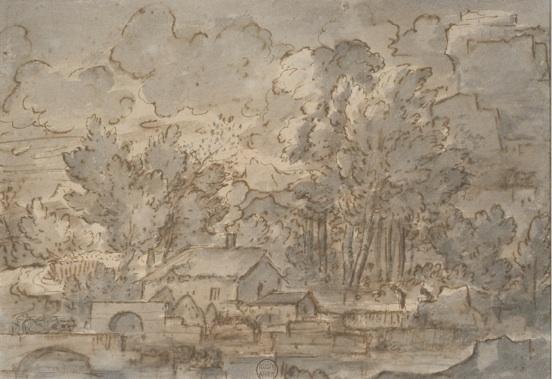 Sébastien Bourdon (1616-1671), Paysage au moulin, plume, encre brune et lavis gris, 0,195 x 0,282 m, Montpellier, musée Atger