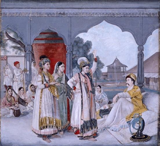 Le Colonel Antoine-Louis Polier assistant à un nautch, d'après une peinture de Johann Zoffany Inde, Uttar Pradesh,  Lucknow, vers 1786-1788 Gouache sur papier 25 x 32 cm Museum Rietberg, Zurich, legs de Balthasar Reinhart