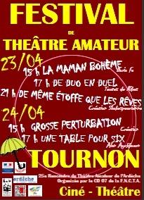 25e Rencontre de Théâtre Amateur à Tournon (07) au Ciné-Théâtre du 23 au 24 avril 2011