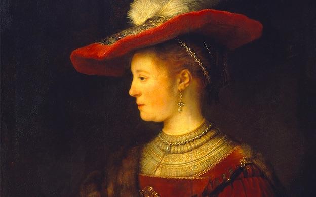 Rembrandt van Rijn, Saskia im Profil in kostbarer Kleidung, 1633-1642, Öl auf Holz, Museumslandschaft Hessen Kassel, Gemäldegalerie Alte Meister, Kassel