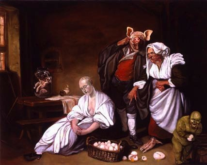 Joe Becker, The egg thief, 2007. Huile sur panneau, H. - 50 cm, L. - 75 cm © DR