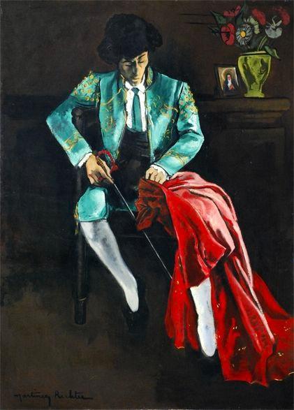 Alice Martinez-Richter, Recueillement avant d'entrer dans l'arène 1955 Huile sur panneau - 155 cm x 112,5 cm