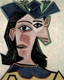 Pablo Picasso, Buste de femme au chapeau (Dora), 1939, huile sur toile, 55 x 46.5 cm