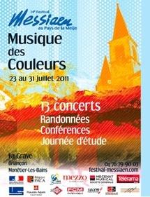 Festival Messiaen au pays de la Meije,  14e édition. Thème « Musique des Couleurs », du 23 au 31 juillet  2011 à La Grave, Briançon et Monêtier les Bains