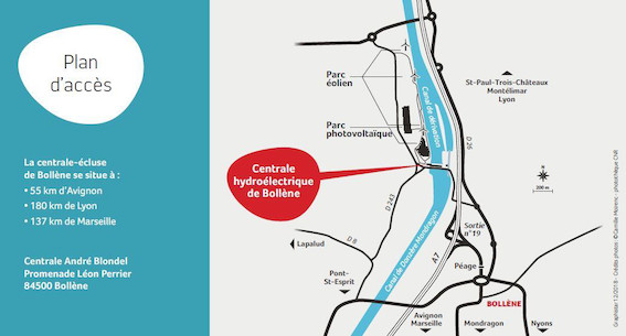 Parcours de visite de la centrale-écluse de Bollène ; lorsque l'industrie devient source d'émotions !