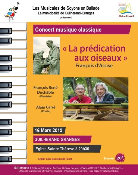« La Prédication aux oiseaux », François d'Assise, 16 mars 2019, Eglise Ste Thérèse à Guilherand-Granges (07)