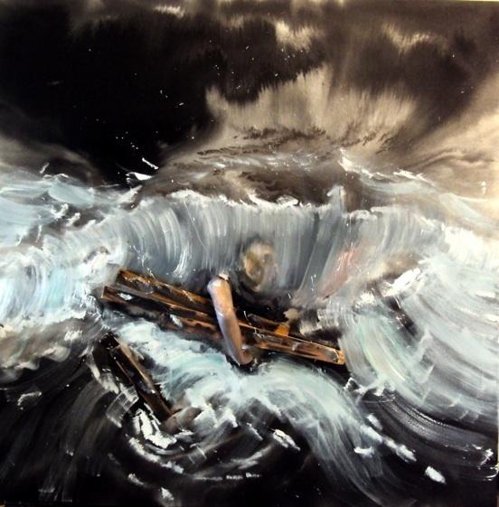 Pencreac'h, Le naufragé (2011). Technique mixte et huile sur toile, 200 x 200 cm