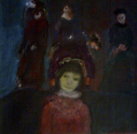 Johanna Heeg, L'approche des ombres - acryl sur toile 27 x 30 cm