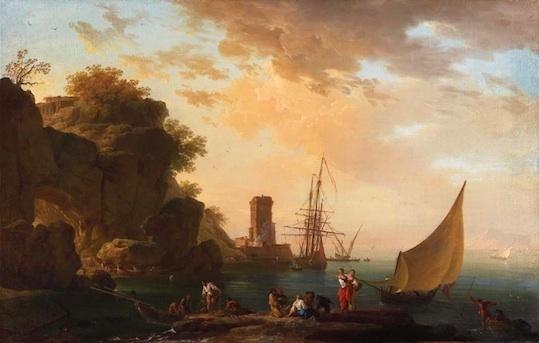 Claude-Joseph Vernet (Avignon, 1714 – Paris, 1789) Une crique près de Naples avec un château et des pêcheurs Huile sur toile. 63,3 x 98,8 cm. Présenté par Charles Beddington Ltd