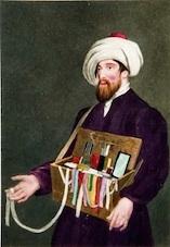Juif marocain vendant des rubans, miroirs et ciseaux dans les rues de Londres aquatinte Grande Bretagne, début XIXème © Col. Dahan-Hirsch