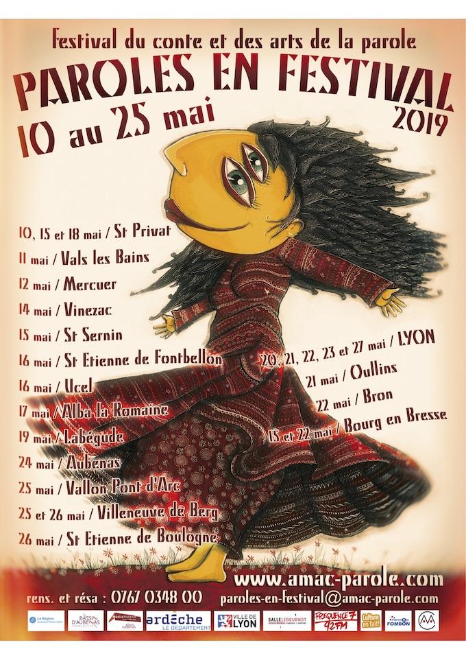 """AMAC / """"Paroles en festival 2019"""" du 10 au 25 mai 2019 en Ardèche, Ain et Rhône"""