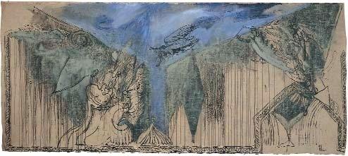 Gérard GAROUSTE, Indienne 1988 215 X 497 cm, Collection particulière de l'artiste © Adam Rzepka