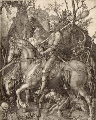 Albrecht Dürer, Le Chevalier, la Mort et le Diable, 1513, gravure au burin, 24,4 x 18,7 cm, Strasbourg, Cabinet des Estampes et des Dessins. Photo : M. Bertola / Musées de Strasbourg