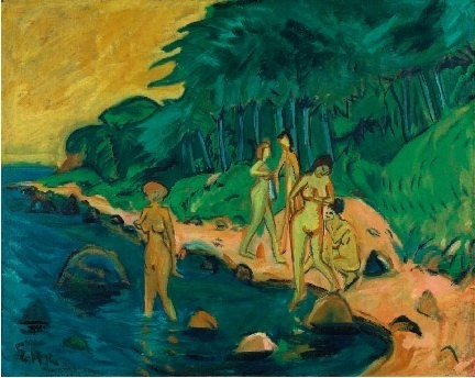 Erich Heckel Baigneuses dans la baie (L'Été à la mer Baltique) 1912, huile sur toile 95 x 119 cm Kunstmuseen Krefeld © photo : Achim Kukulies, Düsseldorf © Adagp, Paris 2011