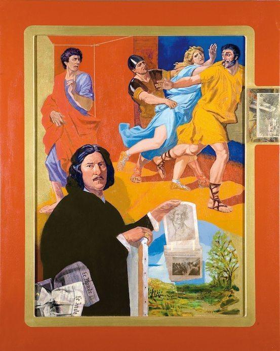 """Eduardo Arroyo """"Dos Anonimos observando a Fantomas en la Pasarela Cibeles"""", 2007 Huile sur toile 116 x 73 cm © Galerie Louis carré"""