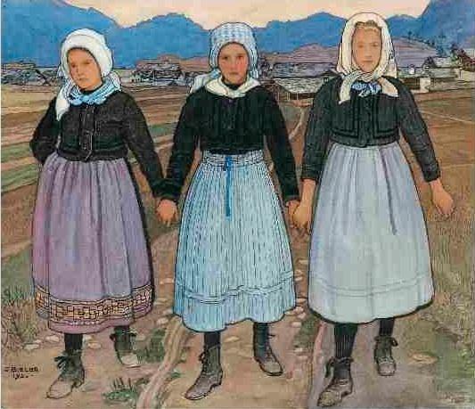 Ernest Biéler. Trois jeunes filles de Savièse, 1920. Aquarelle sur papier marouflé sur carton, 31.5 x 39 cm. Col. particulière © Hinterkappelen, Markus Beyeler