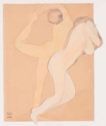 Couple féminin Après 1896 Assemblage d'un papier vélin découpé et d'un dessin sur papier vélin Crayon au graphite (trait) et aquarelle 33,5 x 27,7 cm