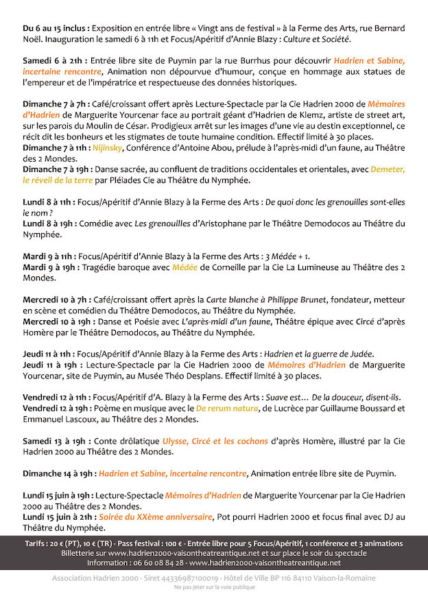 Vaison la Romaine - Festival de Théâtre Antique du 6 au 15 juillet : Sous le signe d'Hadrien
