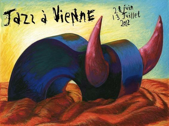 Affiche de Jazz à Vienne 2012 : une guitare-taureau