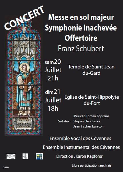 Ensemble vocal et instrumental des Cévennes : messe en sol majeur et Symphonie inachevée de Schubert, 20 et 21 juillet 19