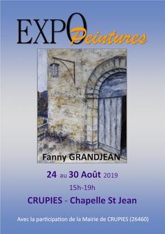 Exposition, Fanny Grandjean, Chapelle St Jean de Crupies (26) du 24 au 30 août 2019