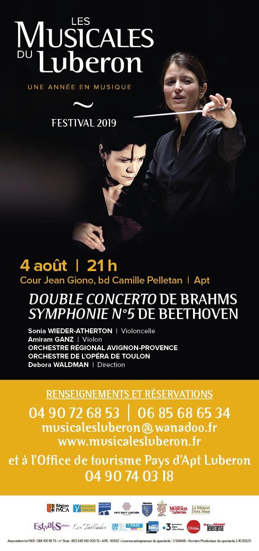 """Les Musicales du Luberon :"""" Double concerto de Brahms, Symphonie n°5  de Beethoven"""", dimanche 04 /08 à 21 h 30 - Cour Jean Giono à Apt"""