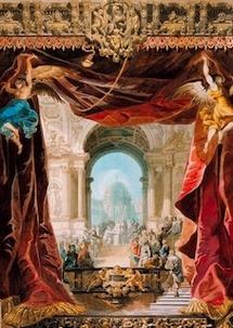 Rideau de manoeuvre, draperies d'avant-scène, atelier Séchan, Feuchère et Cie, 1836, destiné au théâtre de l'Odéon. © BnF / BMO.