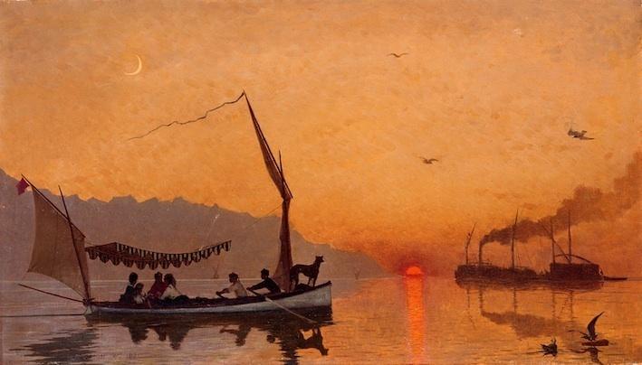 François Bocion, La famille Bocion sur le lac, 1871, huile sur toile, 34,5 x 60,5 cm collection privée © photo Claude Bornand, Lausanne