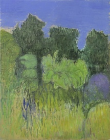 Jacques Truphénums,Verdure sur ciel bleu, Cévennes. 2010. Huile sur toile. 162x130. Galerie Claude Bernard