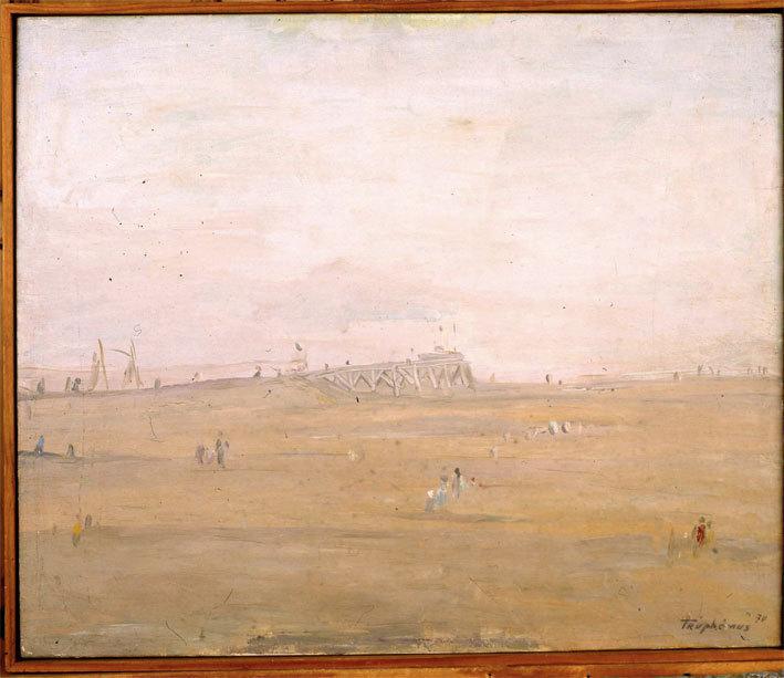 Truphémus. La Jetée de Petit Port Philippe, 1970, huile sur toile, 46x55cm, collection particulière, cliché Didier Michalet