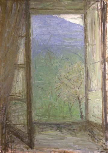 Truphémus. Fenêtre en Cévennes, 2003. Huile sur toile, 116x81cm, donation Muguette et Paul Dini au musée Paul-Dini (Villefranche-sur- Saône), photo Didier Michalet