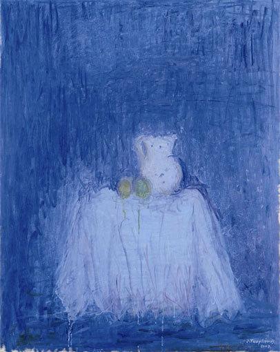 Truphémus. Nature morte sur fond bleu, 2007. Huile sur toile, 92x73cm, collection particulière