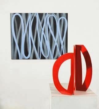Alain Clément, 10JU11P, 2010, huile sur toile, 81 x 100 cm 10J8S, 2010, acier laqué, 43 x 40 x 12 cm env. ©Adagp, Paris 2012