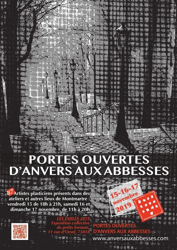 Paris. Portes ouvertes d'Anvers aux Abbesses. 87 artistes plasticiens ouvrent leurs portes à Montmartre les 15, 16 et 17/11/19