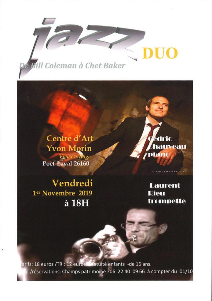 Concert jazz duo au Centre d'art Yvon Morin - Le Poët Laval (26) le 1er novembre '19 à 18h