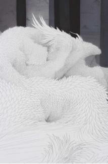 Fragment de l'installation Tissage, crayon et acrylique sur papier Canson, Min Jung-yeon 2019 © Thierry Estrade Courtesy : Min Jung-yeon & Galerie Maria Lund