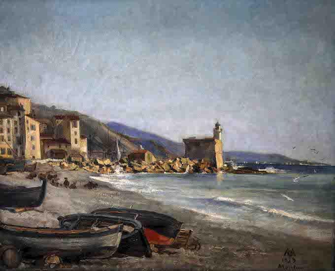 Gaston Melingue (1840 - 1914) Le Bastion et la grève 1879 Huile sur toile