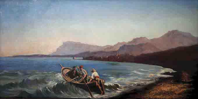 Anonyme Départ pour la pêche, à Garavan vers 1850 Huile sur toile