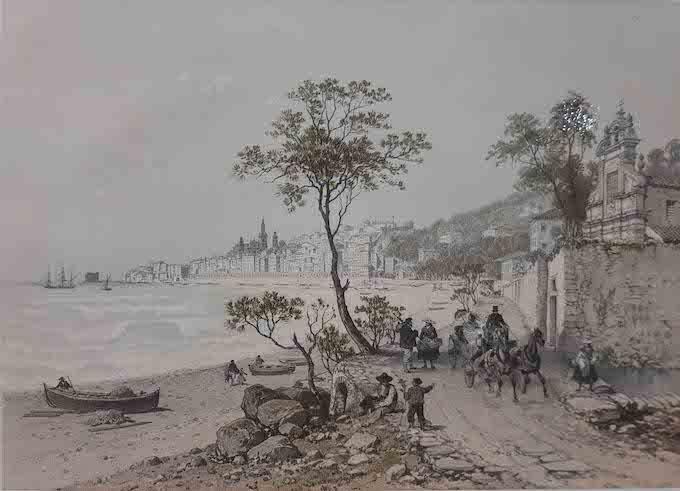 Félix Benoist (1818 - 1896) Menton et la chapelle Saint Jacques 1848 lithographie couleur