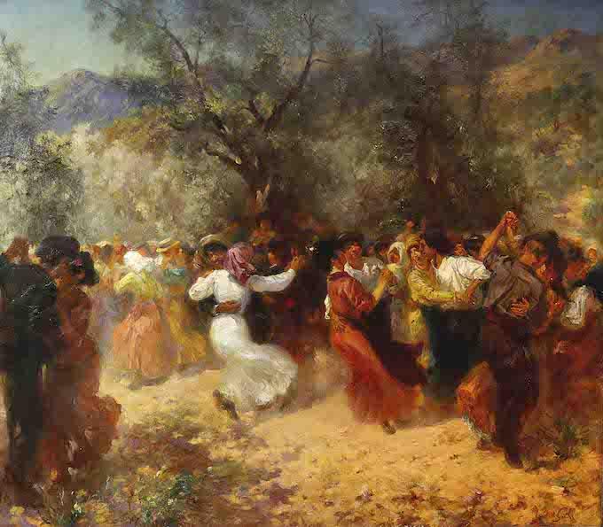 Laurent Gsell (1860 - 1944) Bal champêtre ou le Festin du Grimaldi Huile sur toile