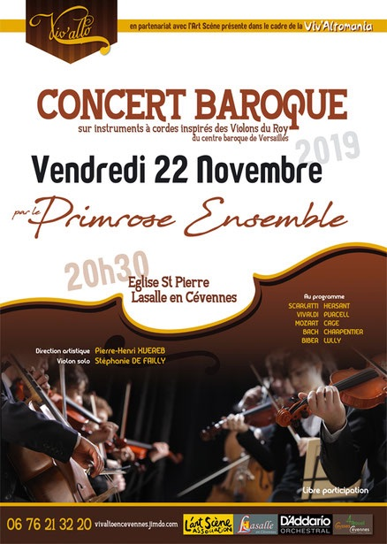 Concert baroque vendredi 22 novembre 2019 à 20 h 30 (église Saint-Pierre à Lasalle en Cévennes - Gard)