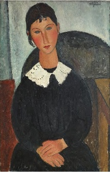Amedeo Modigliani Elvire au col blanc (Elvire à la collerette) 1917 ou 1918 Huile sur toile, 92 x 65 cm. Collection privée © Photo : Pinacothèque de Paris