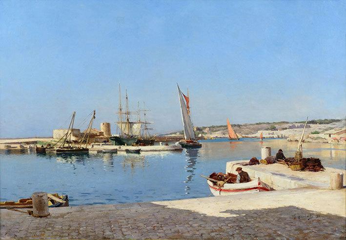 Joseph Garibaldi, Port de Cassis depuis le quai des Baux à Cassis, 1893, huile sur toile 80 x 116 cm, collection particulière (crédit Aleksander Rabczuk)
