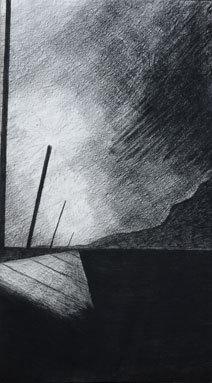 Florian Bruno. « Hyeres » 2008 - craie noire -160x80cm - 2010