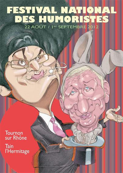 Découvrez l'affiche du Festival National des Humoristes de Tournon-sur-Rhône dessinée par Jean Michel Renault