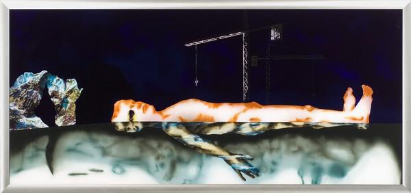 Daniel SCHLIER, Im Wasser liegend V octobre - novembre 2003  Peinture à l'huile sous verre - 90 x 200 cm