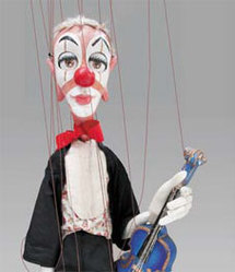 Clown au violon bleu - H 75 cm © collection C. & D. Bertault