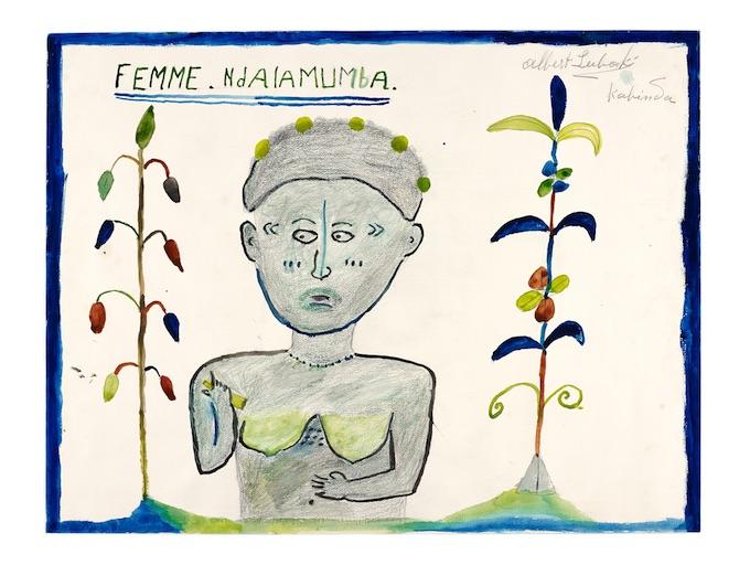 Femme Ndalamumba  Aguarelle signée d'Albert Lubaki.MEG Inv. ETHAF 017959. Photo- © MEG, J. Watts