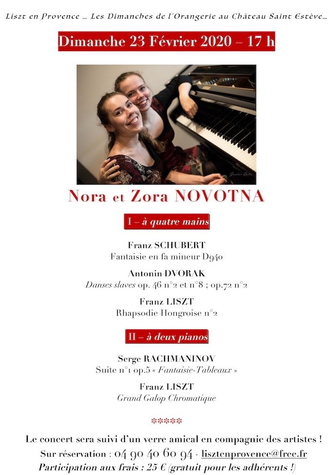 Nora et Zora Novotna en concert au château St-Estève, Uchaux (84) le 23 février 2020 à 17h